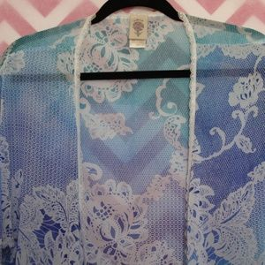 In Bloom Tops - In Bloom Prettty Lace Trim Kimono Size L